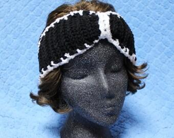 Black & White Crochet Headband EarWarmer