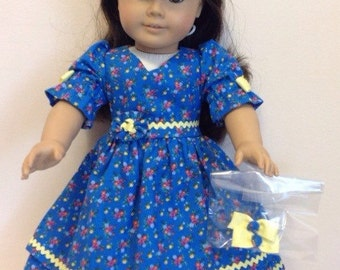 American Girl Doll Clothes 18 Inch Doll Clothes American Girl Doll Dress American Girl Clothes Blue Dress with Hair Clips