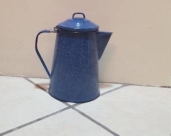 Vintage Blue Granite Ware Tea Pot. Blue with White Speckles