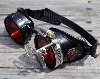 Black Steampunk Goggles with Red Lenses and Magnifying Loupes Optic Conductors Welding Cyber Motorcycle Victorian