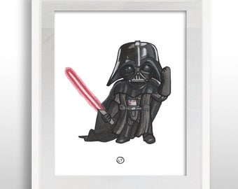 INSTANT DOWNLOAD Star Wars Darth Vader, 8x10 Print, PRINTABLE Star Wars Darth Vader Watercolor Wall Art Print, Hand-painted & Ready to Frame