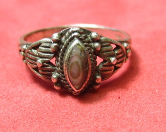 Vintage silver 925 Ring Anodized Jewel size 5  3/4