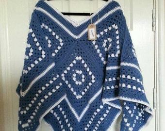 Ladies crochet granny squares poncho