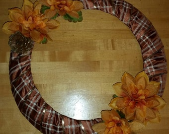 Home Decor Plaid Wreath with Flowers