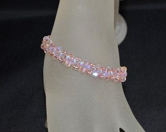 Swarovski crystal bracelet end rosaline ab2x