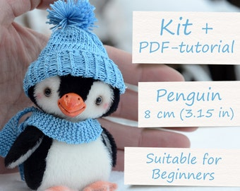 """Teddy Toy Sewing Kit: Miniature Penguin (3.15""""/8cm). All Supplies and Artist Teddy Penguin ePattern included"""