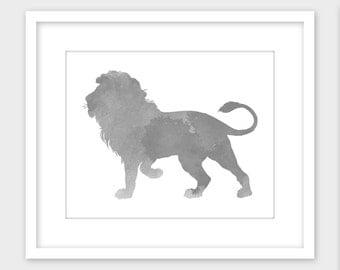 Lion Art Print, Safari Nursery Decor, Gray Watercolor Printable Wall Art, Instant Digital Download