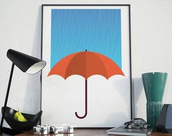 Umbrella Stops Rain Minimalist Modern Print, Rain Poster with Umbrella, Wall Decor