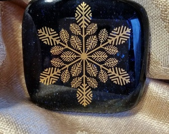 Fused Glass Pendant--Large Blue Snowflake, square