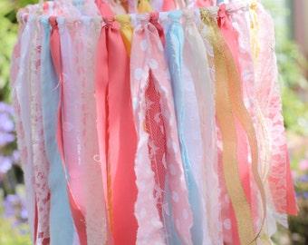ribbon mobile, rustic mobile, ribbon and lace mobile, coral mobile, pink mobile, shabby chic mobile, nursery mobile, boho nursery mobile