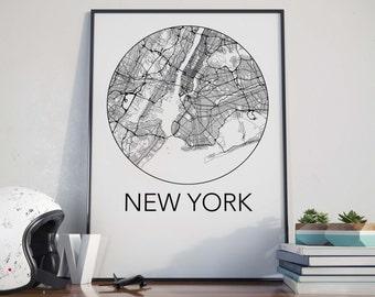 New York City, New York Minimalist City Map Print