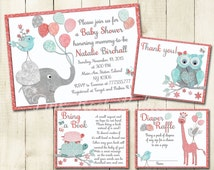 Baby shower printable invitation set elephant giraffe turtle girl digital invite with inserts thank you Diaper Raffle book card coral mint