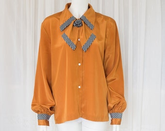 SALE Vintage brown collar shirt with checker detail
