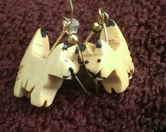 Vintage hand carved and painted wooden cat pierced earrings