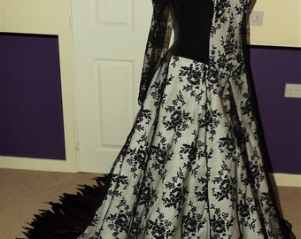 Victorian, Vampire, Gothic Wedding or Ball gown with Feather Train