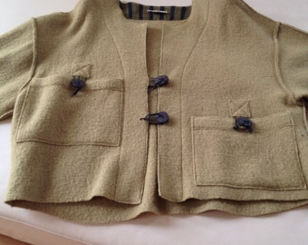 Jacket in wool of all Natura, tender green, vintage, spring