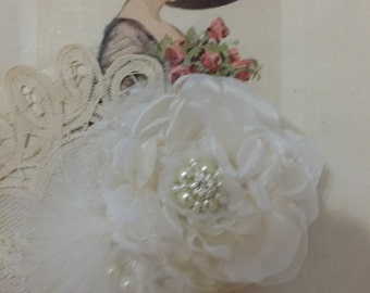 Handmade organza flower,jeweled center of pearls and rhinestones, maribou feather