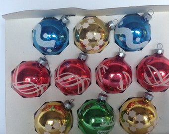 "Vintage Christmas, Christmas Ornaments, 1950s,  2 1/2"" Coby, Set of 10, Mixed Colors, Vintage Ornaments, Christmas Decoration, Holiday Decor"
