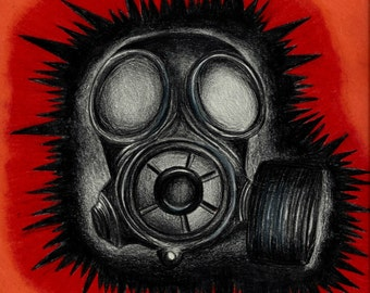Gas Mask Colored Pencil Art, Original Drawing