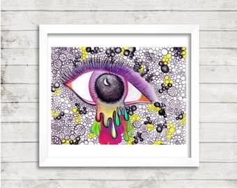 Eye Drawing, Trippy Eye Art, Psychedelic Eye Art, Mixed Media, Print