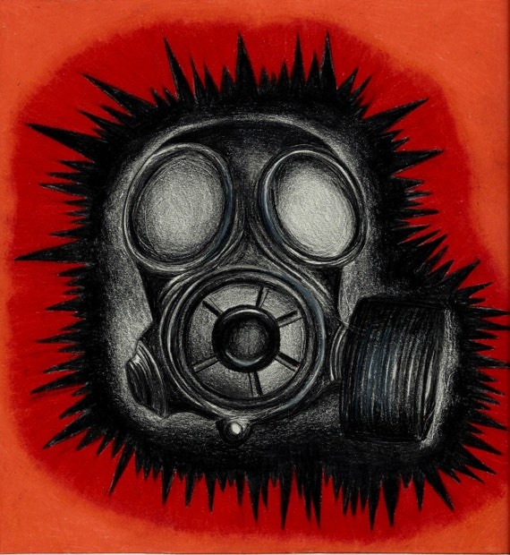 Gas Mask Colored Pencil Art Original Drawing by ...