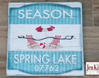 Spring Lake New Jersey Beach Badge Sign// Jersey Shore Art // NJ // Beach Decor // Town Signs // Beach House Sign // Beach Tag