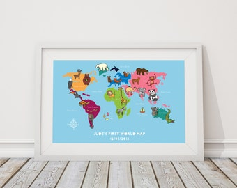 Bespoke children's world map hand drawn illustrated and framed