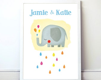 Elephant Print. Instant download. Art Print for children. Wall art. Editable Text!. PDF format.