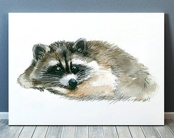 Raccoon print Animal art Wildlife poster Watercolor print ACW562