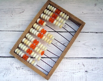 Soviet vintage Abacus Vintage wooden toy Made USSR Rustic Home Decor Vintage school Old Abacus wooden Office Decor Russian toy