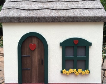 Wooden Doll House Cottage, Handcrafted Painted Wooden Dollhouse (Red, Green, Yellow)