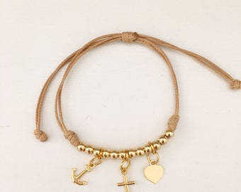 Beige Leather Charm Bracelet
