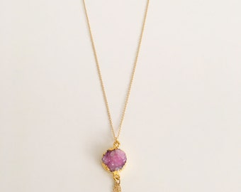 Gold Plated Lilac Necklace with Fringe