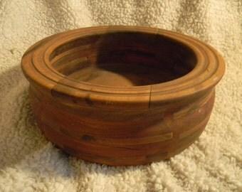 "Vintage handcrafted large wooden bowl 12"" diameter, signed by craftsman"