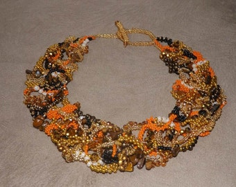 Autumn mixed colors freeform necklace, statement necklace, beaded necklace and unique handmade..