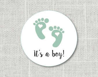 It's A Boy Stickers, Baby Shower Stickers, Baby Shower Favor Stickers, Baby Party Labels