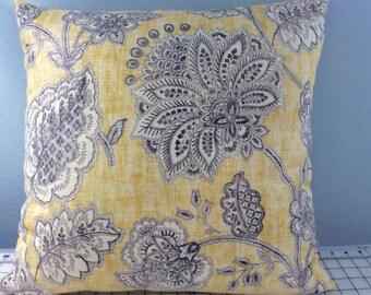 Floral Pillow Cover-Decorative Pillow-Tropical Pillow-Coastal Pillow-Beach Pillow-Nautical Pillow-Lake Pillow-Yellow Pillow
