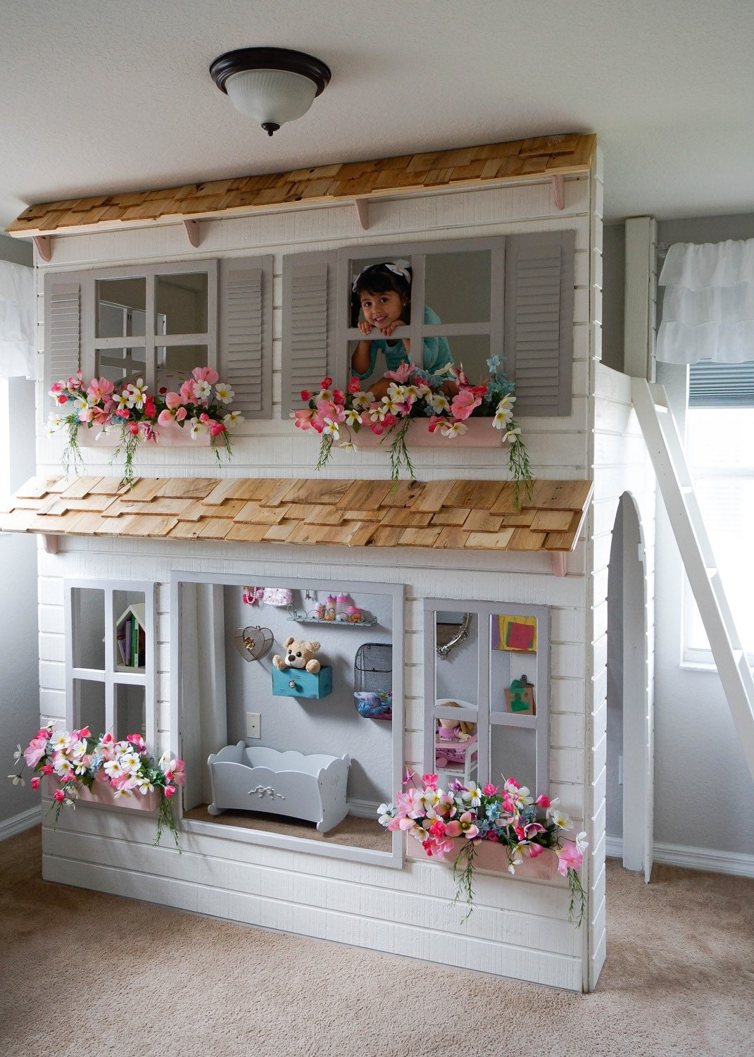 House Bunk Bed Custom Dollhouse Cottage Loft Bed Pick Your Colors Play