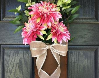Lime green and pink dahlia summer door hanger - wreath alternative