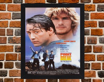 Framed Point Break Keanu Reeves & Patrick Swayze Movie / Film Poster A3 Size Mounted In Black Or White Frame