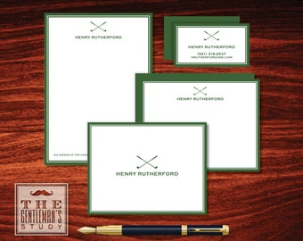 Fairway Big Stationery Bundle - Mens Golf Club Stationary - Notepad Set, Correspondence Cards, Folded Notes, Calling Cards + Optional Labels