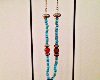 Necklace turquoise and amber stone REF ANTONIA