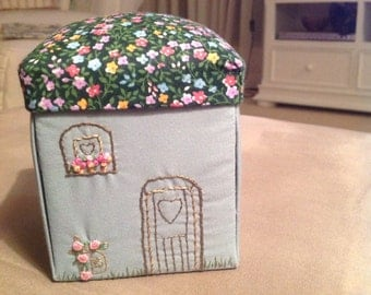 Embroidered cottage sewing box
