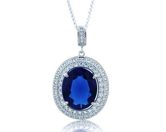 925 Sterling Silver - Sapphire Pendant Necklace (S382)