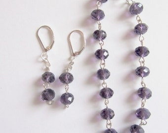 Purple crystal bracelet,Crystal Earrings,Individually linked,Birthday gift,Mothers day present