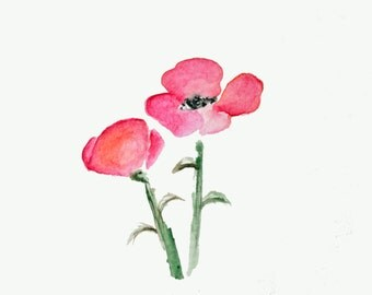 Water Color Art Print - Poppy (August) - Hostess Gift