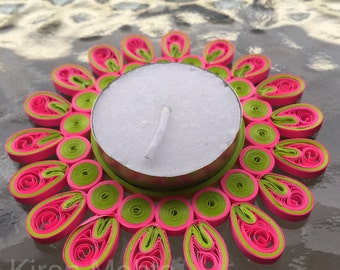 Quilled tea light holder