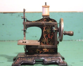 Antique Muller German Miniature Sewing Machine with Spool