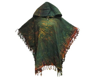 Hooded Poncho/Sweater/Top with Fringe Trim, Tie Dye Cotton (YX837)