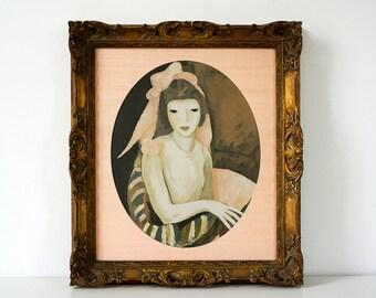 Marie Laurencin - Original 1920's Coloured Lithograph Print - Fine Art Print - Portrait Art - Ornate Gold Frame - French Art Deco